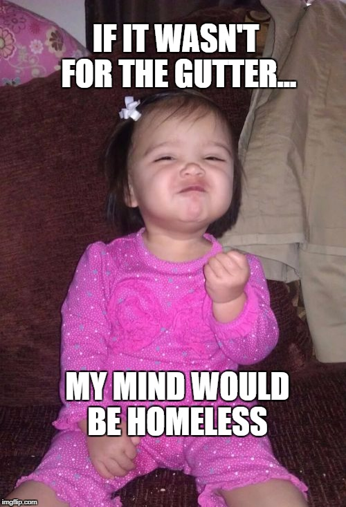 Success Kid Girl | IF IT WASN'T FOR THE GUTTER... MY MIND WOULD BE HOMELESS | image tagged in memes,success kid girl | made w/ Imgflip meme maker
