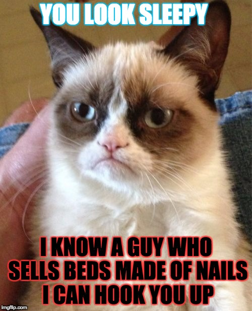 Grumpy Cat Meme | YOU LOOK SLEEPY I KNOW A GUY WHO SELLS BEDS MADE OF NAILS I CAN HOOK YOU UP | image tagged in memes,grumpy cat | made w/ Imgflip meme maker