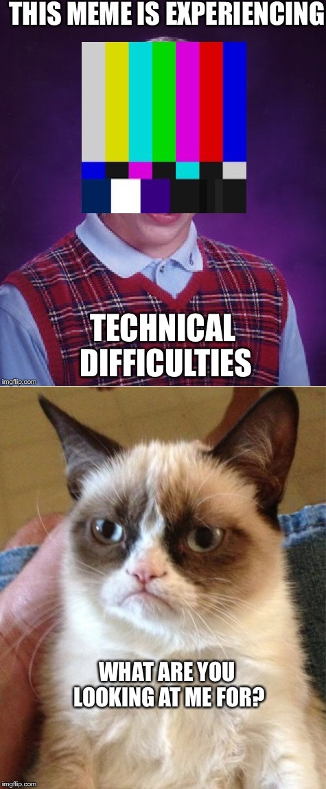 WHAT ARE YOU LOOKING AT ME FOR? | image tagged in bad luck brian,grumpy cat | made w/ Imgflip meme maker