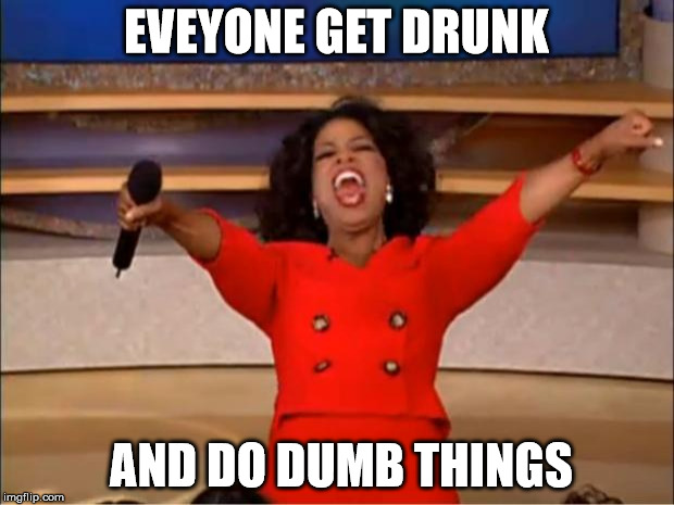 Oprah You Get A Meme | EVEYONE GET DRUNK AND DO DUMB THINGS | image tagged in memes,oprah you get a | made w/ Imgflip meme maker