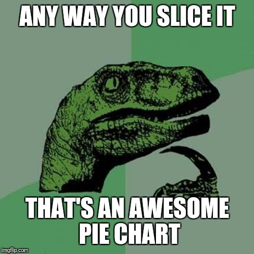 Philosoraptor Meme | ANY WAY YOU SLICE IT THAT'S AN AWESOME PIE CHART | image tagged in memes,philosoraptor | made w/ Imgflip meme maker