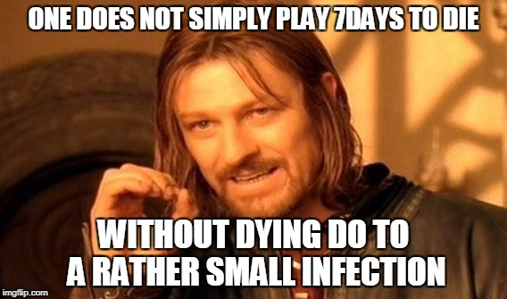 One Does Not Simply Meme | ONE DOES NOT SIMPLY PLAY 7DAYS TO DIE WITHOUT DYING DO TO A RATHER SMALL INFECTION | image tagged in memes,one does not simply | made w/ Imgflip meme maker