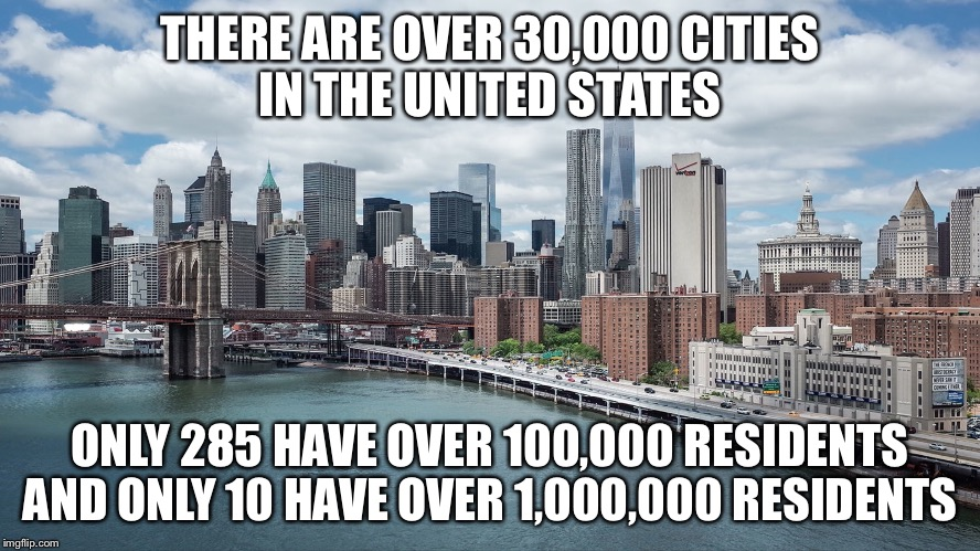 US Cities  | THERE ARE OVER 30,000 CITIES IN THE UNITED STATES ONLY 285 HAVE OVER 100,000 RESIDENTS AND ONLY 10 HAVE OVER 1,000,000 RESIDENTS | image tagged in city,united states,new york city | made w/ Imgflip meme maker