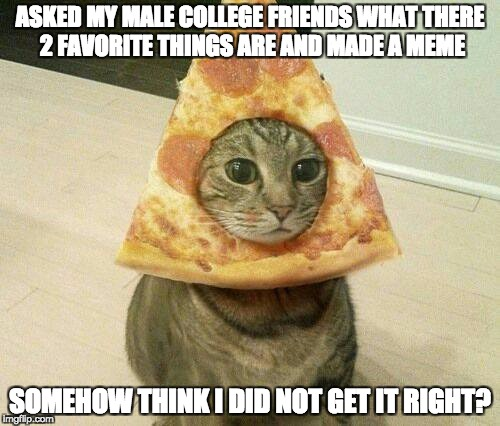 What college boy's like | ASKED MY MALE COLLEGE FRIENDS WHAT THERE 2 FAVORITE THINGS ARE AND MADE A MEME SOMEHOW THINK I DID NOT GET IT RIGHT? | image tagged in college,students,funny memes,memes,college meme,pizza cat | made w/ Imgflip meme maker
