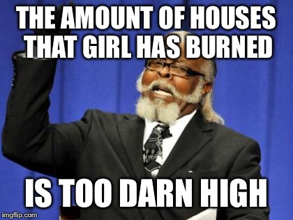 Too Damn High Meme | THE AMOUNT OF HOUSES THAT GIRL HAS BURNED IS TOO DARN HIGH | image tagged in memes,too damn high | made w/ Imgflip meme maker