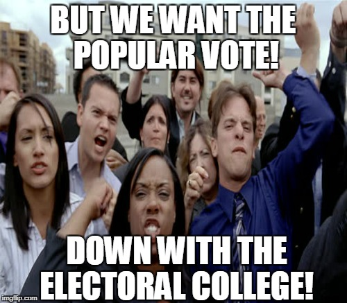 BUT WE WANT THE POPULAR VOTE! DOWN WITH THE ELECTORAL COLLEGE! | made w/ Imgflip meme maker