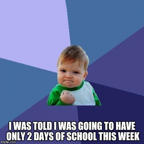 Now i'll have more time to play my video games and make memes! | I WAS TOLD I WAS GOING TO HAVE ONLY 2 DAYS OF SCHOOL THIS WEEK | image tagged in memes,success kid,school,thanksgiving | made w/ Imgflip meme maker