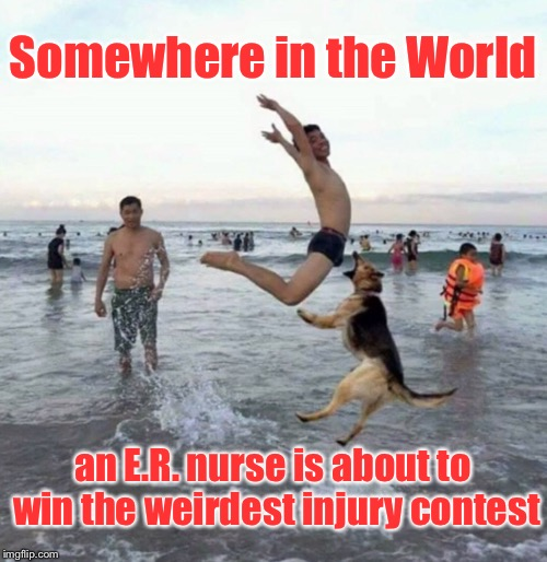 And her drinks will be on the house | Somewhere in the World an E.R. nurse is about to win the weirdest injury contest | image tagged in memes,dog bite,emergency room,swimmer,groin injury,contest winner | made w/ Imgflip meme maker
