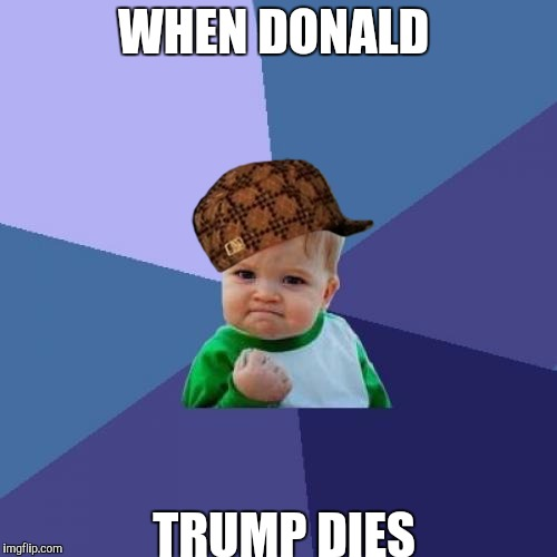 Success Kid Meme | WHEN DONALD TRUMP DIES | image tagged in memes,success kid,scumbag | made w/ Imgflip meme maker