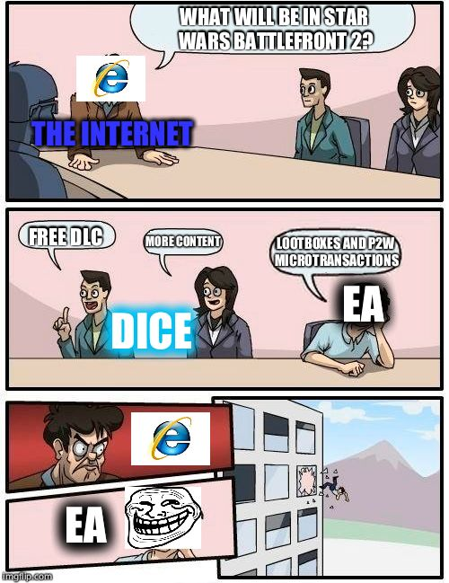 The Internet vs EA | WHAT WILL BE IN STAR WARS BATTLEFRONT 2? FREE DLC MORE CONTENT LOOTBOXES AND P2W MICROTRANSACTIONS DICE EA EA THE INTERNET | image tagged in memes,boardroom meeting suggestion,video games,internet,electronic arts | made w/ Imgflip meme maker
