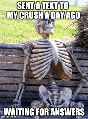 Waiting Skeleton Meme | SENT A TEXT TO MY CRUSH A DAY AGO WAITING FOR ANSWERS | image tagged in memes,waiting skeleton | made w/ Imgflip meme maker
