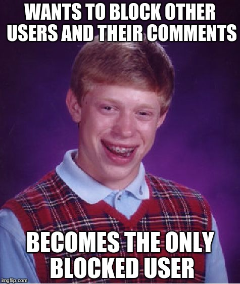 perhaps u should just leave! problem solved. | WANTS TO BLOCK OTHER USERS AND THEIR COMMENTS BECOMES THE ONLY BLOCKED USER | image tagged in memes,bad luck brian,if you can't take the heat get out of the kitchen | made w/ Imgflip meme maker