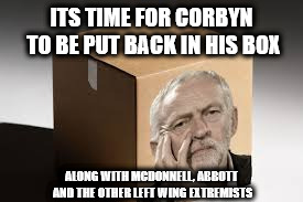 Corbyn back in his box |  ITS TIME FOR CORBYN TO BE PUT BACK IN HIS BOX; ALONG WITH MCDONNELL, ABBOTT AND THE OTHER LEFT WING EXTREMISTS | image tagged in corbyn box mcdonnell abbott left-wing extremists | made w/ Imgflip meme maker
