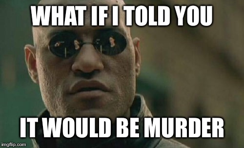 Matrix Morpheus Meme | WHAT IF I TOLD YOU IT WOULD BE MURDER | image tagged in memes,matrix morpheus | made w/ Imgflip meme maker