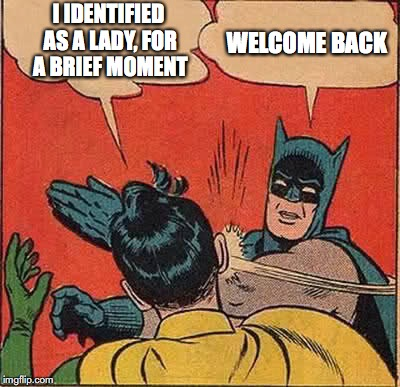 Batman Slapping Robin Meme | I IDENTIFIED AS A LADY, FOR A BRIEF MOMENT WELCOME BACK | image tagged in memes,batman slapping robin | made w/ Imgflip meme maker