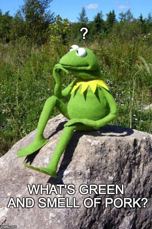 WHAT'S GREEN AND SMELL OF PORK? Anonymous Meme Week - A _________Event - November 20-27 | ? WHAT'S GREEN AND SMELL OF PORK? | image tagged in kermit thinking | made w/ Imgflip meme maker