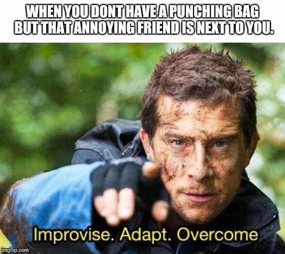 WHEN YOU DONT HAVE A PUNCHING BAG BUT THAT ANNOYING FRIEND IS NEXT TO YOU. | image tagged in bear grylls improvise adapt overcome | made w/ Imgflip meme maker