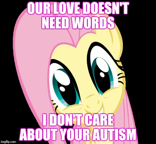 Waifu love | OUR LOVE DOESN'T NEED WORDS I DON'T CARE ABOUT YOUR AUTISM | image tagged in fluttershy,autism,my little pony | made w/ Imgflip meme maker