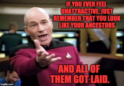 Picard Wtf Meme | IF YOU EVER FEEL UNATTRACTIVE, JUST REMEMBER THAT YOU LOOK LIKE YOUR ANCESTORS AND ALL OF THEM GOT LAID. | image tagged in memes,picard wtf | made w/ Imgflip meme maker