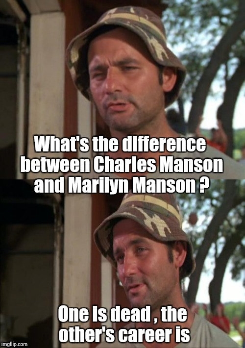 To the Millenials , studying history doesn't hurt | What's the difference between Charles Manson and Marilyn Manson ? One is dead , the other's career is | image tagged in bill murray bad joke,charles manson,marilyn manson,what's the deal | made w/ Imgflip meme maker
