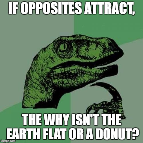 Philosoraptor Meme | IF OPPOSITES ATTRACT, THE WHY ISN'T THE EARTH FLAT OR A DONUT? | image tagged in memes,philosoraptor | made w/ Imgflip meme maker