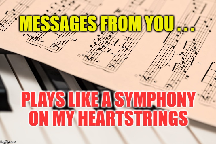 Symphony of the Heart | MESSAGES FROM YOU . . . PLAYS LIKE A SYMPHONY ON MY HEARTSTRINGS | image tagged in life,motivation,love,happy,message,music | made w/ Imgflip meme maker