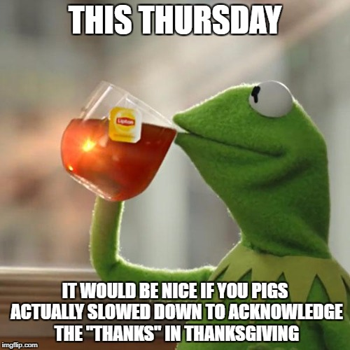 "Happy Thanksgiving, everyone. | THIS THURSDAY IT WOULD BE NICE IF YOU PIGS ACTUALLY SLOWED DOWN TO ACKNOWLEDGE THE ""THANKS"" IN THANKSGIVING 