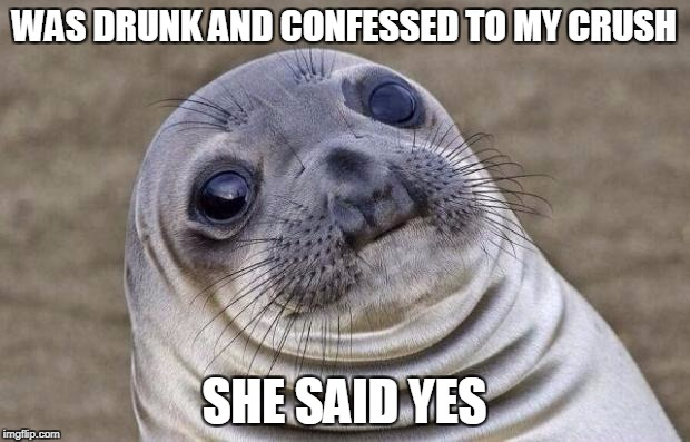 Awkward Moment Sealion Meme | WAS DRUNK AND CONFESSED TO MY CRUSH SHE SAID YES | image tagged in memes,awkward moment sealion | made w/ Imgflip meme maker