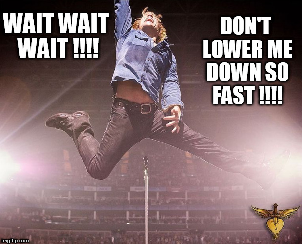 bon jovi | WAITWAIT WAIT !!!! DON'T LOWER ME DOWN SO FAST !!!! | image tagged in funny,anal,anal sex,gay,bon jovi,slowpoke | made w/ Imgflip meme maker
