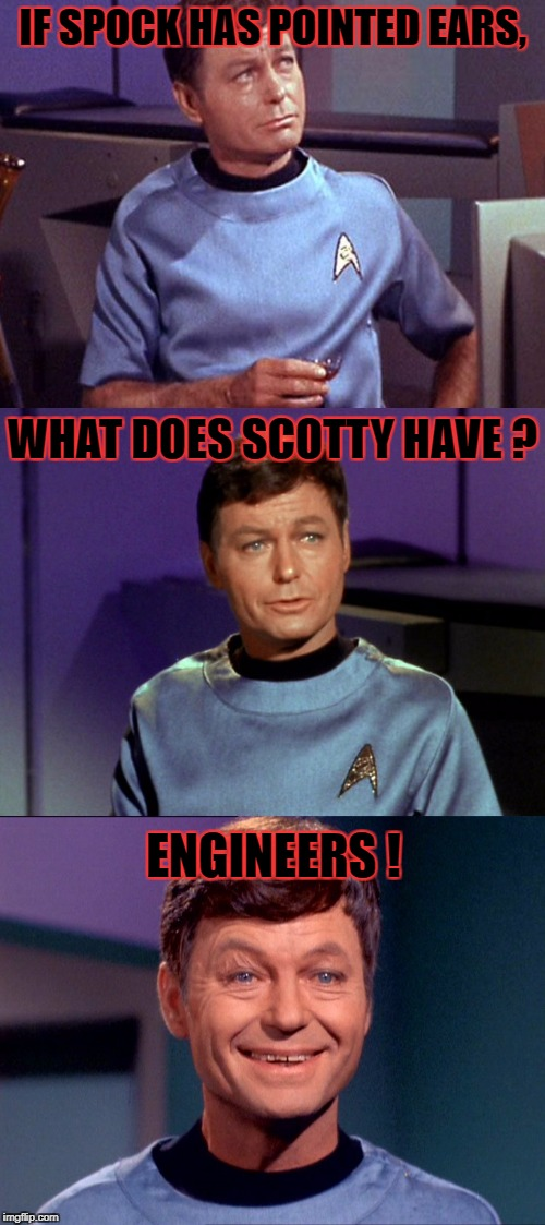 Bad Pun McCoy [Star Trek Week! a brandy_jackson Tombstone1881 and coollew event! Nov. 20th to the 27th] | IF SPOCK HAS POINTED EARS, WHAT DOES SCOTTY HAVE ? ENGINEERS ! | image tagged in bad pun mccoy,star trek week | made w/ Imgflip meme maker