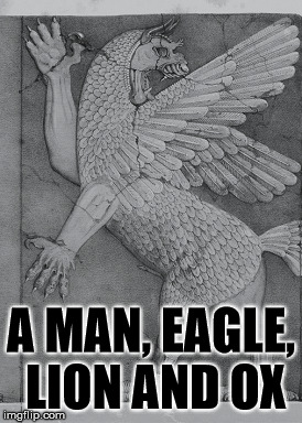 The animal make-up of the Chaos Monster. | A MAN, EAGLE, LION AND OX | image tagged in the chaos monster,animals,abomination,evil,spirit | made w/ Imgflip meme maker