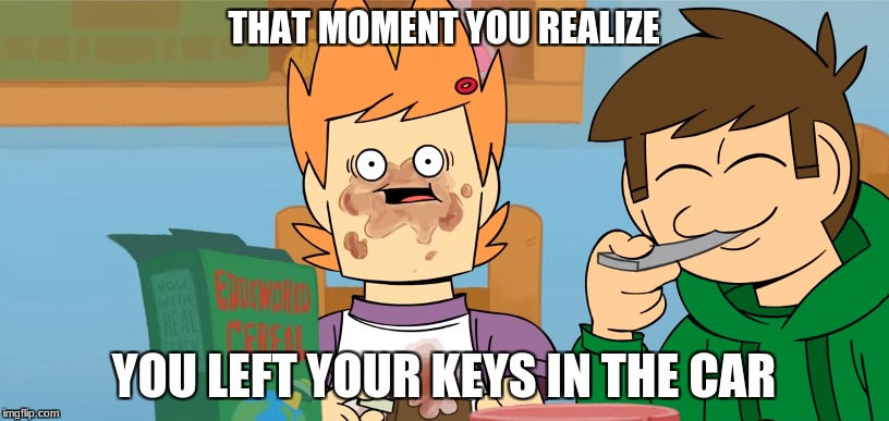 THAT MOMENT YOU REALIZE YOU LEFT YOUR KEYS IN THE CAR | image tagged in eddsworld | made w/ Imgflip meme maker