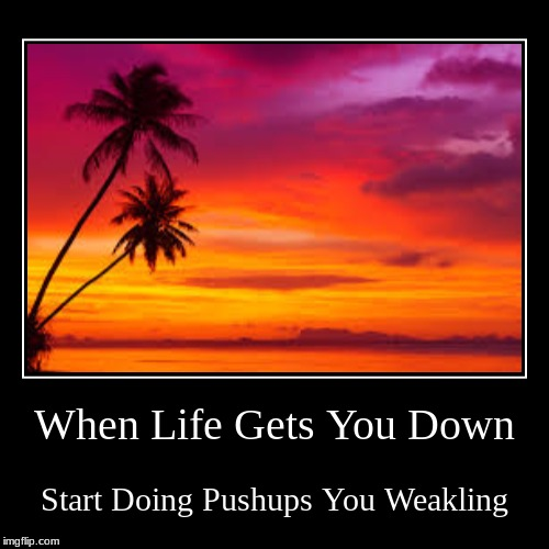 When Life Gets You Down | Start Doing Pushups You Weakling | image tagged in funny,demotivationals | made w/ Imgflip demotivational maker