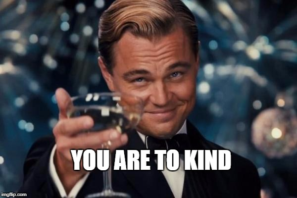 Leonardo Dicaprio Cheers Meme | YOU ARE TO KIND | image tagged in memes,leonardo dicaprio cheers | made w/ Imgflip meme maker
