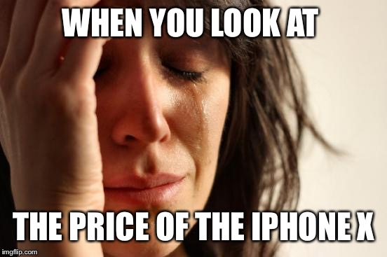First World Problems Meme | WHEN YOU LOOK AT THE PRICE OF THE IPHONE X | image tagged in memes,first world problems | made w/ Imgflip meme maker