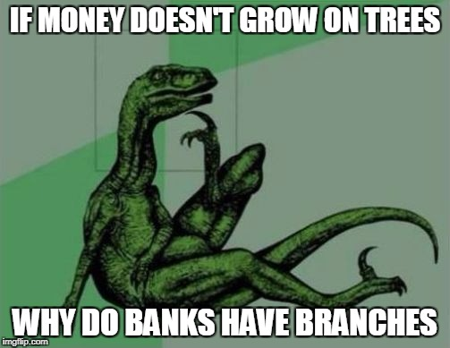 Philosoraptor | IF MONEY DOESN'T GROW ON TREES WHY DO BANKS HAVE BRANCHES | image tagged in philosoraptor | made w/ Imgflip meme maker