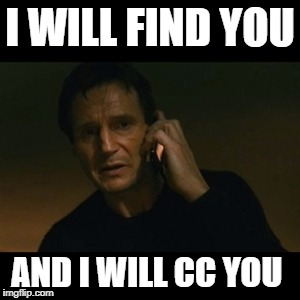 Liam Neeson Taken Meme | I WILL FIND YOU AND I WILL CC YOU | image tagged in memes,liam neeson taken | made w/ Imgflip meme maker