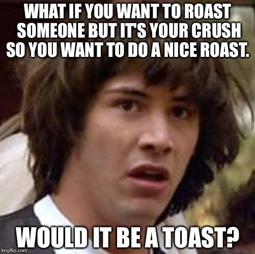 So is toast nice?  | WHAT IF YOU WANT TO ROAST SOMEONE BUT IT'S YOUR CRUSH SO YOU WANT TO DO A NICE ROAST. WOULD IT BE A TOAST? | image tagged in memes,conspiracy keanu,funny,weird science | made w/ Imgflip meme maker