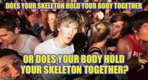 Sudden Clarity Clarence Meme | DOES YOUR SKELETON HOLD YOUR BODY TOGETHER OR DOES YOUR BODY HOLD YOUR SKELETON TOGETHER? | image tagged in memes,sudden clarity clarence,anonymous meme week | made w/ Imgflip meme maker