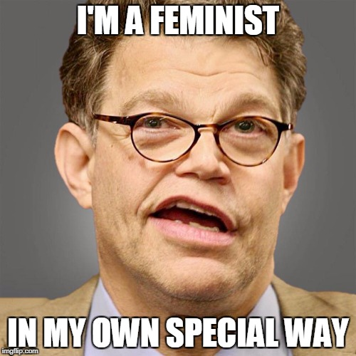 I'M A FEMINIST IN MY OWN SPECIAL WAY | image tagged in political meme,al franken,feminism | made w/ Imgflip meme maker