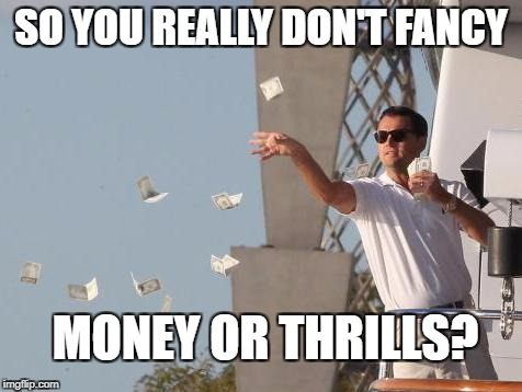 Leonardo DiCaprio throwing Money  | SO YOU REALLY DON'T FANCY MONEY OR THRILLS? | image tagged in leonardo dicaprio throwing money | made w/ Imgflip meme maker