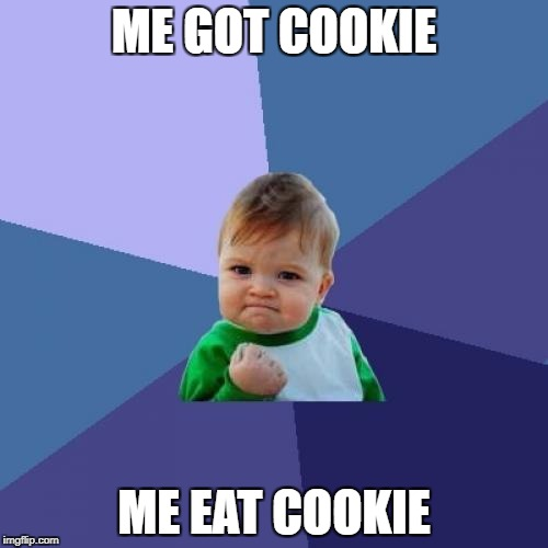 Success Kid | ME GOT COOKIE ME EAT COOKIE | image tagged in memes,success kid | made w/ Imgflip meme maker