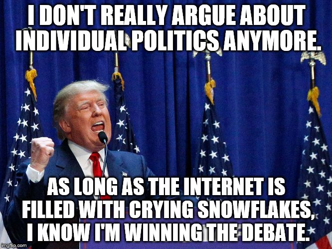 I DON'T REALLY ARGUE ABOUT INDIVIDUAL POLITICS ANYMORE. AS LONG AS THE INTERNET IS FILLED WITH CRYING SNOWFLAKES, I KNOW I'M WINNING THE DEB | image tagged in america,trump | made w/ Imgflip meme maker