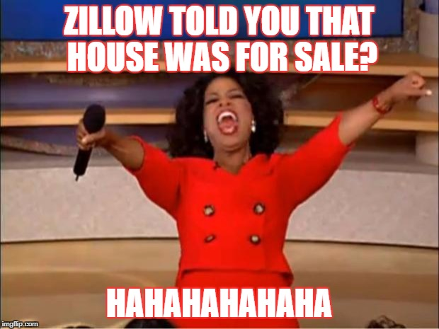 Oprah You Get A Meme | ZILLOW TOLD YOU THAT HOUSE WAS FOR SALE? HAHAHAHAHAHA | image tagged in memes,oprah you get a | made w/ Imgflip meme maker