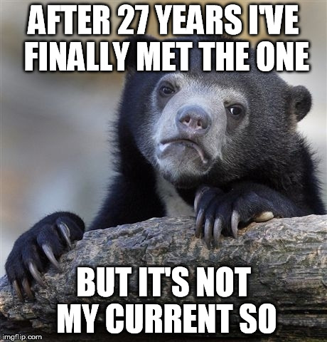 Confession Bear Meme | AFTER 27 YEARS I'VE FINALLY MET THE ONE BUT IT'S NOT MY CURRENT SO | image tagged in memes,confession bear | made w/ Imgflip meme maker