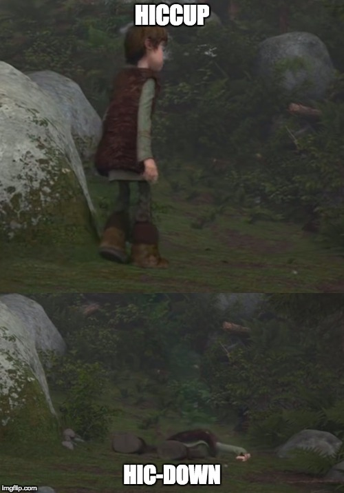 HICCUP HIC-DOWN | image tagged in how to train your dragon,hiccup | made w/ Imgflip meme maker