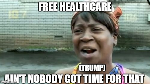 Aint Nobody Got Time For That Meme | FREE HEALTHCARE AIN'T NOBODY GOT TIME FOR THAT (TRUMP) | image tagged in memes,aint nobody got time for that | made w/ Imgflip meme maker