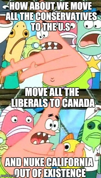Put It Somewhere Else Patrick Meme | HOW ABOUT WE MOVE ALL THE CONSERVATIVES TO THE U.S MOVE ALL THE LIBERALS TO CANADA AND NUKE CALIFORNIA OUT OF EXISTENCE | image tagged in memes,put it somewhere else patrick | made w/ Imgflip meme maker