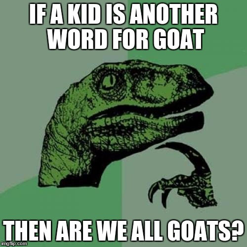 Philosoraptor | IF A KID IS ANOTHER WORD FOR GOAT THEN ARE WE ALL GOATS? | image tagged in memes,philosoraptor | made w/ Imgflip meme maker