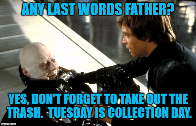 Darth Vader's Last Words | ANY LAST WORDS FATHER? YES, DON'T FORGET TO TAKE OUT THE TRASH.  TUESDAY IS COLLECTION DAY. | image tagged in darth vader's last words,darth vader luke skywalker,darth vader,luke skywalker,memes,meme | made w/ Imgflip meme maker